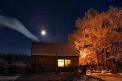 Полнолуние в д. Никоновка, Горьковский район, Омская область